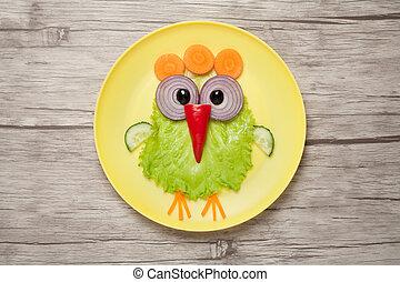 placa, hecho, divertido, vegetales, escritorio, pollo