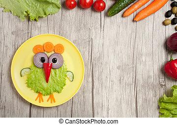 tabla, vegetales, hecho, pollo, ingredientes