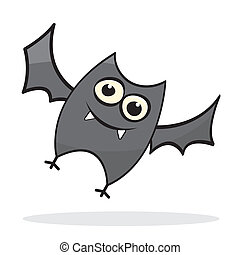 Cute little cartoon bat Vector illustration