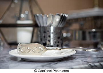 The plate of food on the table