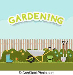 Gardening Flat Background Vector Illustration. Garden Tools, Tree, Fence and Bush on Natural Background. Illustration in Modern Flat Style