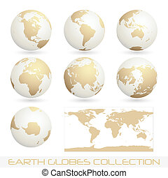 earth globes colection, white - cream - collection of earth...