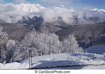 North slope Aibga Ridge Western Caucasus at ski resort Gorky...
