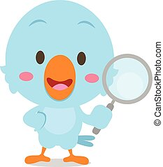 Blue bird with magnifying character
