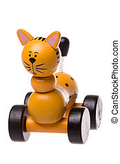 Wooden Rolling Cat Toy Isolated