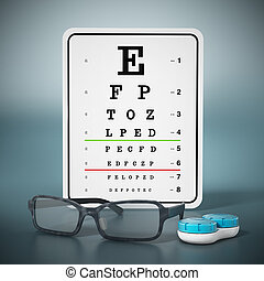 Eye test chart, eyeglasses and contact lens box. 3D illustration