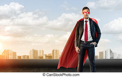 A businessman in superhero mask and cape on the sky...