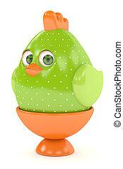 3d render of Easter chick in egg holder