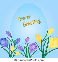 Easter Card with Daffodils2-01 - Vector illustration of...