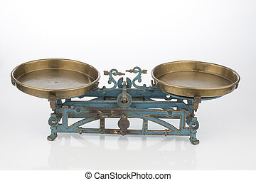 old balance with two bowls - old scales, symbol photo of...