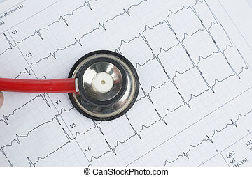stethoscope and electrocardiogram, symbolfoto for heart...