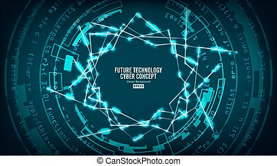 Futuristic Technology Connection Structure. Vector Abstract Background. Future Cyber Concept. Hi Speed Digital Design. Security Network Backdrop