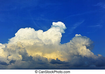 Blue sky with clouds - Blue sky background with fluffy white...