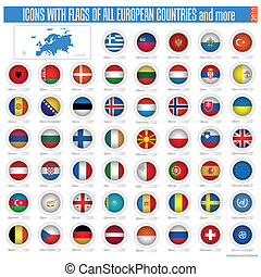 icons with flags of the all european countries
