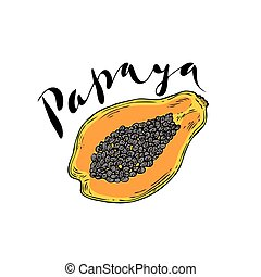 The fruit of papaya on a white background with the word...
