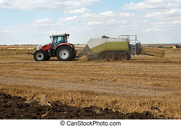 Working hay baler on a wheat field with straw dust in the...