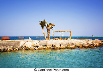 View of a pier with palm trees and the vacation spot. Egypt