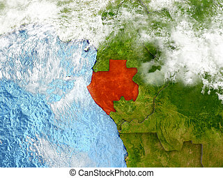 Gabon on map with clouds - Gabon in red on map with detailed...