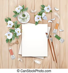 Background with Brushes and Paints - Vector background with...