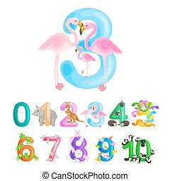 ordinal number 3 for teaching children counting three...