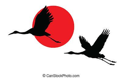 vetorial, Ilustração, guindastes, céu, fundo, vermelho, sol