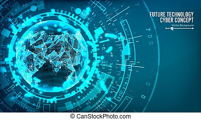 Futuristic Technology Connection Structure. Vector Abstract Background. Future Cyber Concept. Digital System Design
