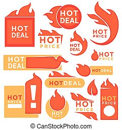 Hot price tags with fire symbol set isolated on white