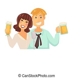 Man and woman with glasses of beer with foam