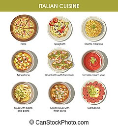 Italian cuisine flat colorful poster with traditional dishes...