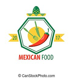 Mexican food logo design with kitchen cutlery and red chili