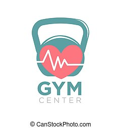 Gym center logotype design with kettlebell and heart with...