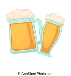 Man and woman glasses of beer with foam isolated on white...