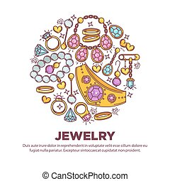 Jewelry items collection in round shape on white. Vector...