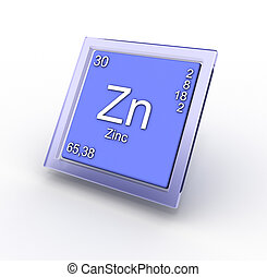 Zinc chemical element sign, 3D generated illustration