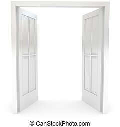 Open door over white 3d rendered image
