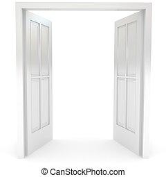 otwarty, drzwi, na, biały