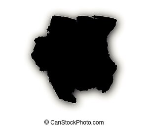 Map of Suriname with shadow