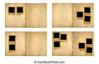 Open vintage photoalbum for photos on white isolated background