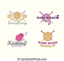 Set of knitting logo elements