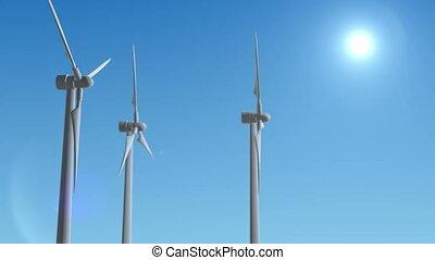 Wind Turbine Generator 3d render loop animation