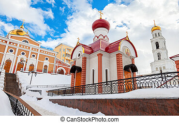 Russian orthodox church. Iversky monastery in Samara, Russia