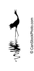 vector silhouette of the crane on white background