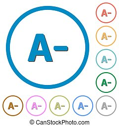 Decrease font size icons with shadows and outlines -...