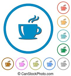 Cappuccino icons with shadows and outlines - Cappuccino flat...