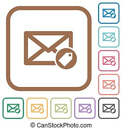 Tagging mail simple icons in color rounded square frames on...