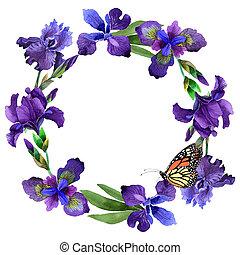 Wildflower iris flower wreath in a watercolor style...