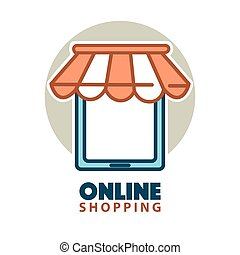 Online shopping logo design with a tablet under waterproof...