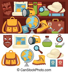 Tourists set of necessary things and clothes for travel....