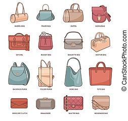 Vector set with fashion bags - Vector set with types of...