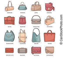 Bolsas,  vector, Conjunto, Moda
